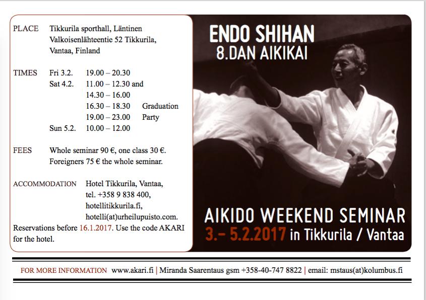 Endo Shihan weekend seminar 2017
